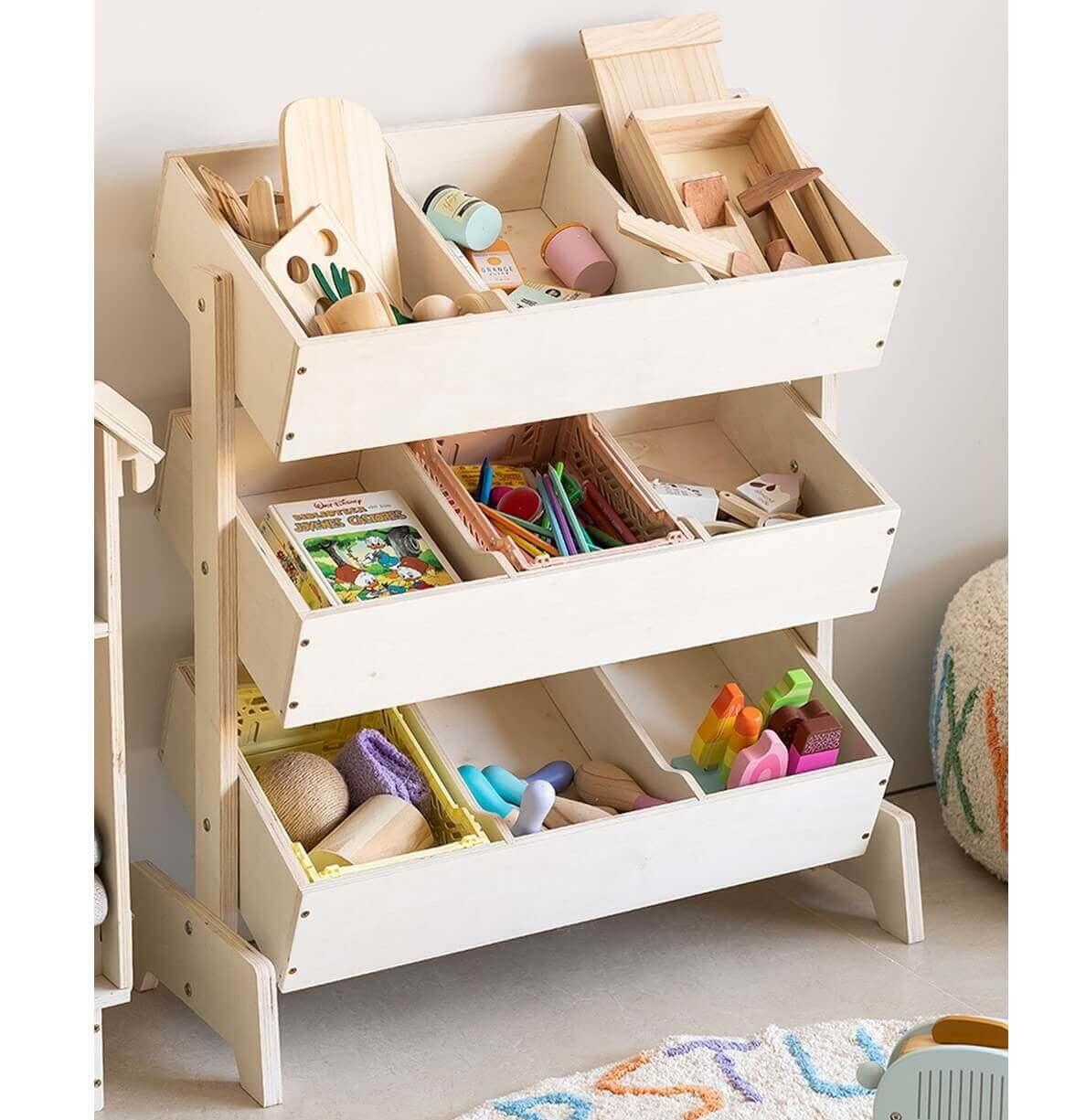 Kệ để đồ chơi cho bé làm bằng gỗ đẹp hiện đại