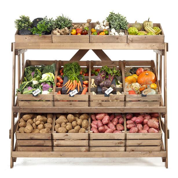 kệ trưng bày trái cây làm bằng gỗ